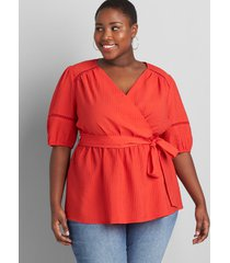 lane bryant women's textured crossover belted blouse 18p flame scarlet
