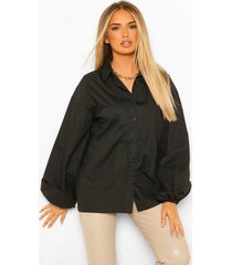 geplooide poplin blouse met extreme pofmouwen, black