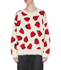 hearts motif oversize sweater