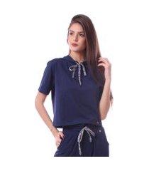 blusa simony lingerie manga curta  com touca delicotton  azul marinho .