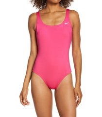 women's nike essential u-back one-piece swimsuit, size x-large - pink