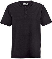 t-shirt med knappar i halsen men plus svart