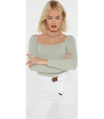 womens square to me ribbed bodysuit - sage