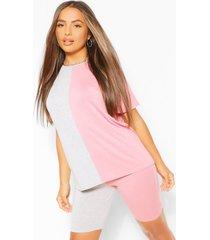 petite gesplitst t-shirt en fietsbroekje set, roze