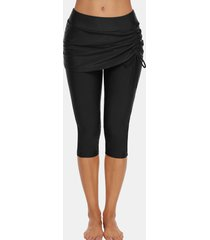 cinched skirted capri swim pants