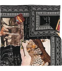 ralph lauren collection embroidered cashmere scarf - black
