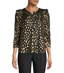 metallic leopard-print blouse