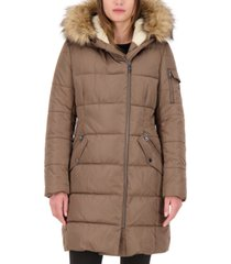 vince camuto petite faux-fur-trim hooded puffer coat, created for macy's