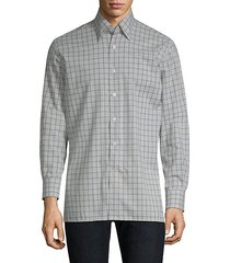 grid-print cotton button-down shirt
