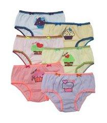 kit 6pçs  calcinhas ellie infantil cupcake rosa/amarela
