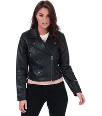 only womens enya faux leather jacket size 14 in black