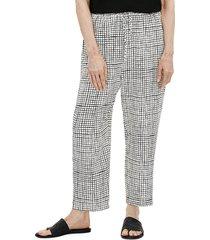 eileen fisher women's slouchy cropped pants - bone black - size l
