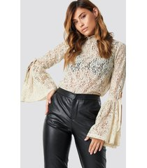 na-kd boho wide sleeve lace top - beige