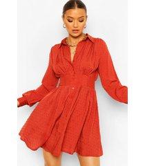 dobby blouse jurk met geplooide shoulder, roest