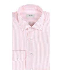 camicia da uomo su misura, canclini, righe rosa, quattro stagioni | lanieri