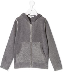 bonpoint faded knit zip-front hoodie - grey