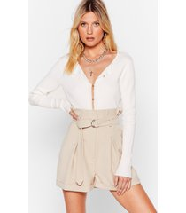 womens won't waist your time paperbag belted shorts - stone