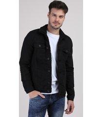 jaqueta jeans masculina com pelo preta
