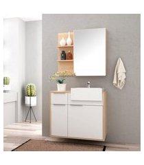 conjunto para banheiro jazz bosi gabinete + cuba e espelheira amadeirado/branco