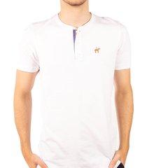 camiseta fondo entero con perilla en contraste blanco azul ref. 107021119