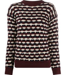 victoria victoria beckham geometric-knit sweater - purple