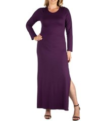 women's plus size side slit fitted maxi dress