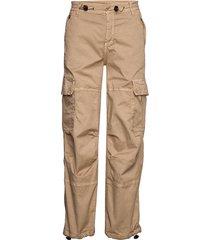 cargo loose byxa med raka ben beige please jeans