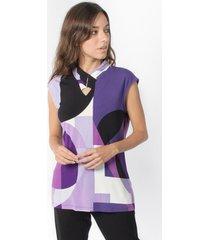 blusa abstract print morado calvin klein