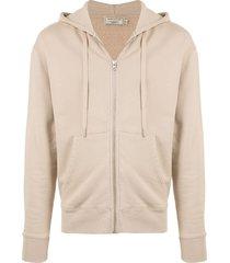 maison kitsuné tricolour fox zip-up hoodie - neutrals