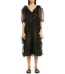 women's simone rocha asymmetrical ruffle silk organza midi dress, size 10 us / 14 uk - black
