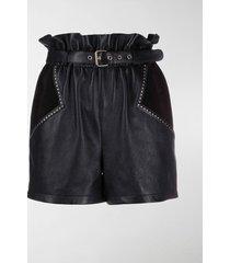 saint laurent stud-embellished paperbag shorts