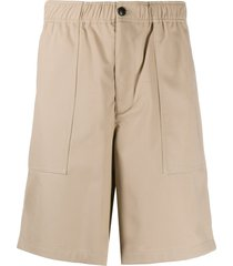 ami paris elasticated waistband bermuda shorts - neutrals