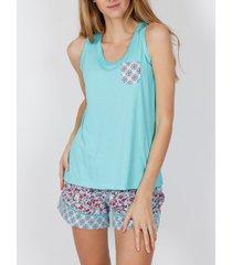 pyjama's / nachthemden admas pyjama shorts tank top spring hippy turquoise