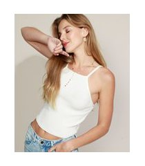 regata de tricô feminina halter neck off white