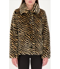 kate spade new york zebra-print faux-fur coat