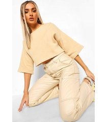 korte oversized sweater met naaddetail, stone