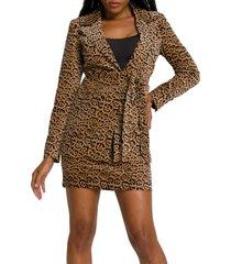 women's good american fit & flatter leopard print velveteen blazer, size 0 - orange