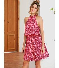 red random heart printed halter knotted sleeveless dress