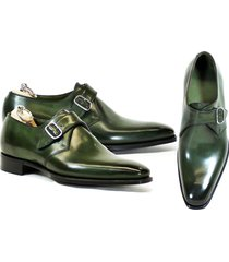 handmade monk strap green leather shoes dress business latest formal dress shoes