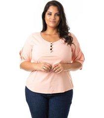 blusa confidencial extra plus size viscose feminina - feminino