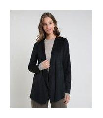 blazer feminino em suede preto