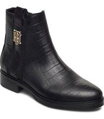 croco look dressy flat boot shoes boots ankle boots ankle boot - flat svart tommy hilfiger