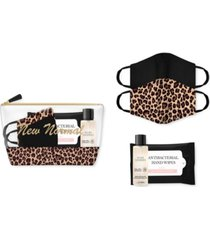 alexis bendel face masks, hand sanitizer, anti-bacterial wipes & cosmetic bag 5pc travel set