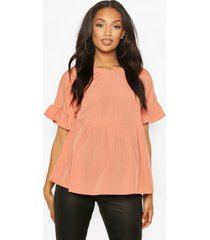 maternity cross back woven smock top, dusky pink