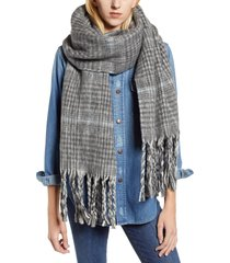 women's allsaints plaid brushed wool blanket scarf, size one size - grey