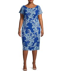 plus embroidered sheath dress