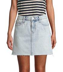 raw-edge denim mini skirt