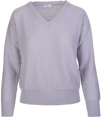 fedeli woman dusty grey cashmere pullover with v-neck
