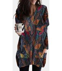 camicetta casual da donna con scollo a v manica lunga stampata vintage