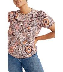 women's madewell bali blooms yoked puff sleeve top, size xx-large - black